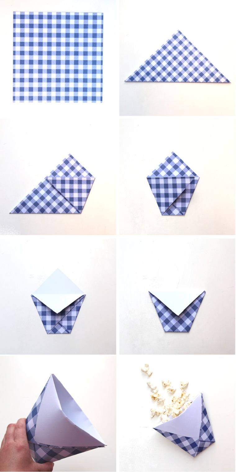 Origami semplici, come piegare un foglio di carta colorato di colore blu e bianco
