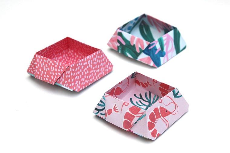 Origami semplici, ciotola di carta colorata per snack, ciotola di carta per origami