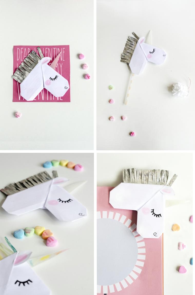 Origami semplici, cartolina per San Valentino con unicorno di carta origami