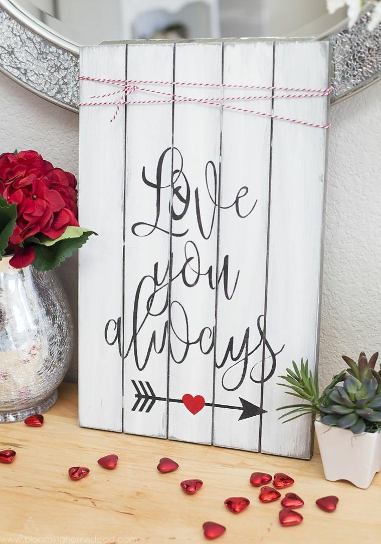 Pallet di legno con scritta in inglese, regali per lui san valentino fai da te