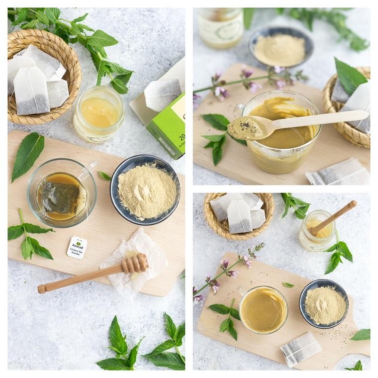 Ingredienti in ciotole su un tagliere di legno, maschera purificante fai da te
