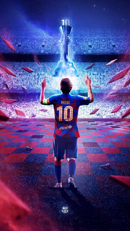 Foto di Messi sul campo da calcio, foto da scaricare sul telefono per lo schermo
