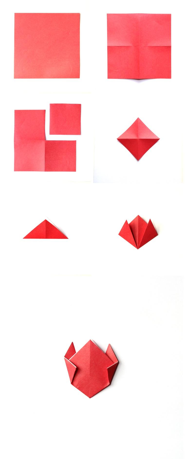 Piegare un foglio di carta di colore rosa, origami semplici, petali di fiore di carta