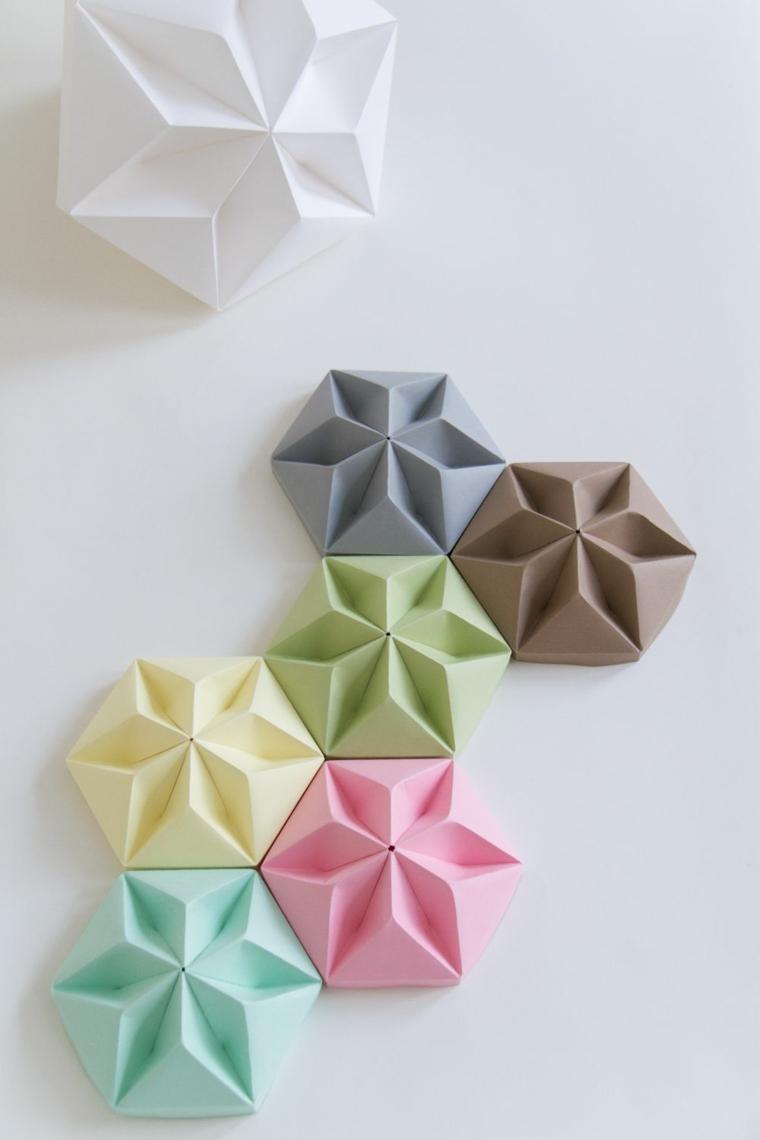 Lavoretti per bambini facili, origami di carta colorata piegata forma esagono