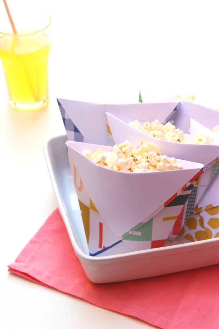 Lavoretti per bambini facili, sacchettino di carta colorata per contenitore per popcorn