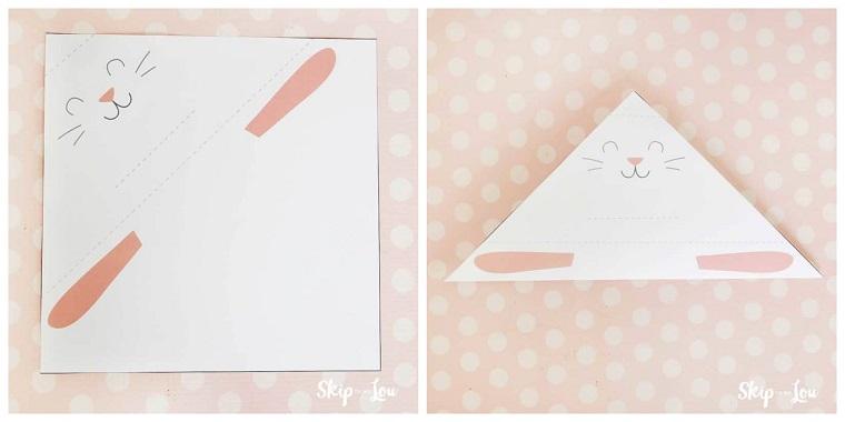 Tutorial per piegare la carta origami, coniglio origami di colore bianco, origami semplici