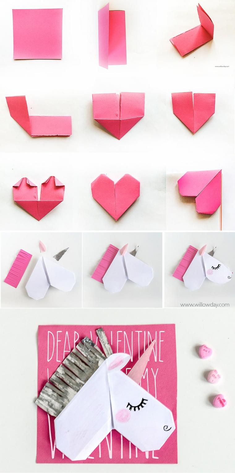 Lavoretti facili, tutorial per piegare un foglio di carta di colore rosa