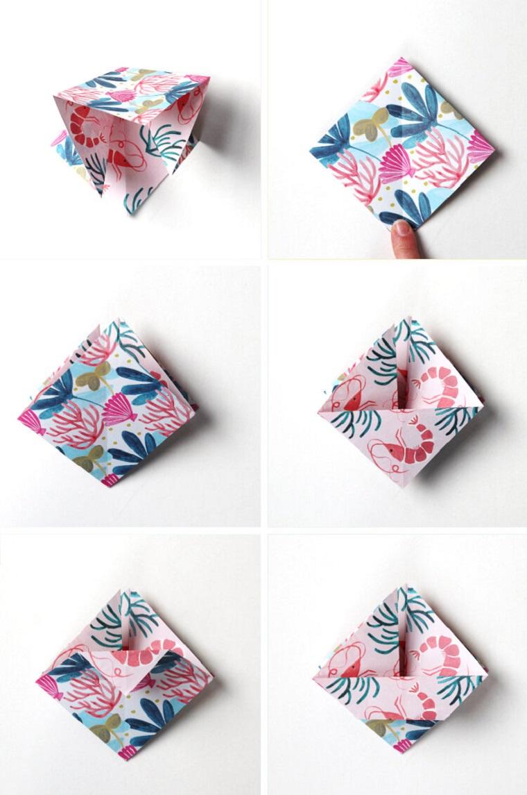 Origami facili per bambini, come piegare un foglio con motivi ornamentali