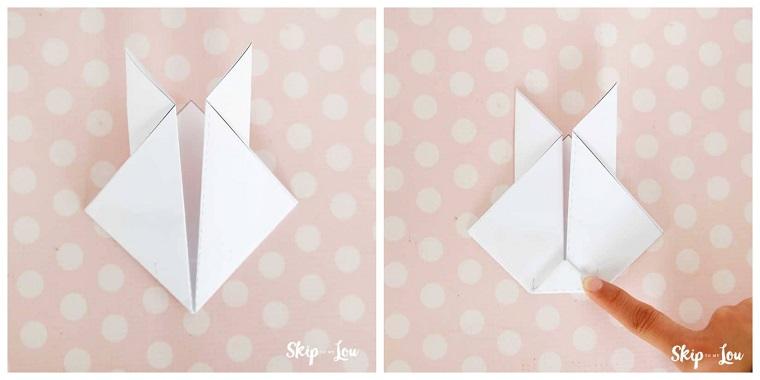 Lavoretti facili, come piegare la carta origami, coniglio origami di colore bianco