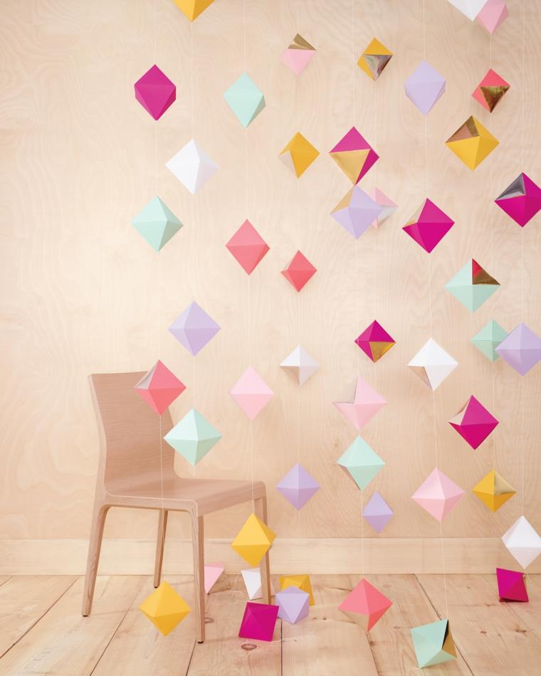 Lavoretti per bambini facili, ghirlanda con cubi di origami di carta colorata