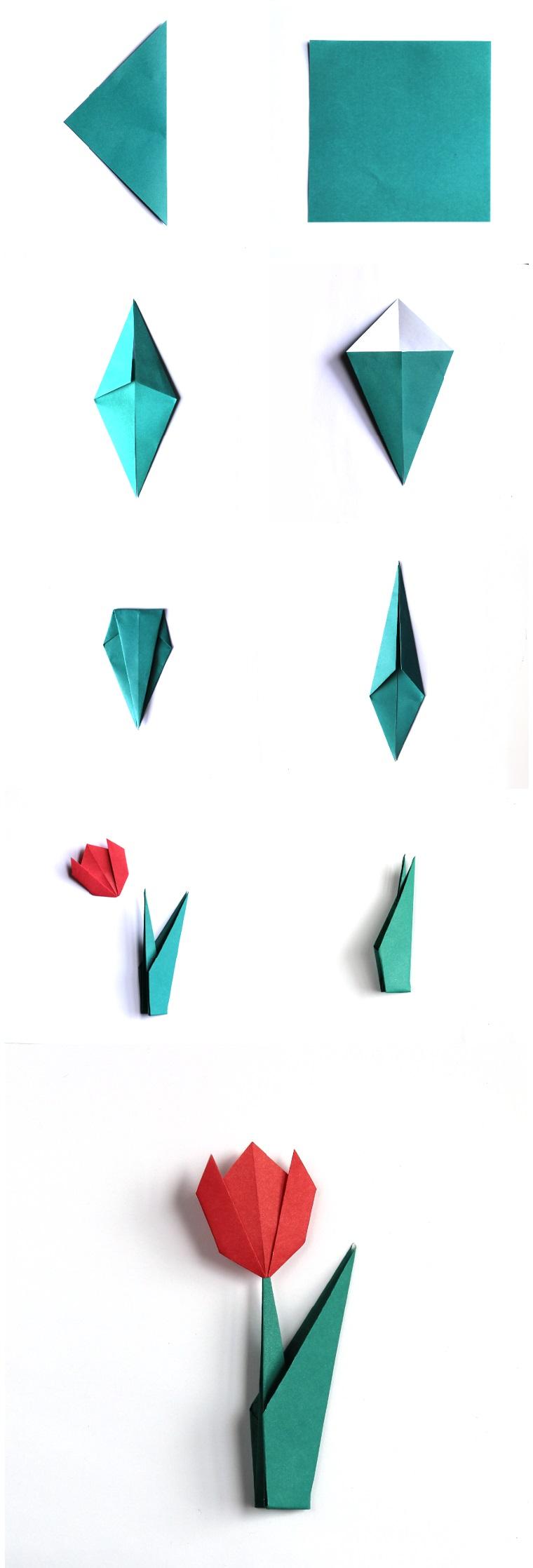 Origami facile, piegare la carta per origami, fiore tulipano di carta colorata