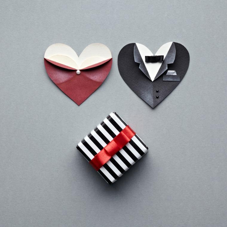Decorazione cartoline per San Valentino, lavoretti per bambini facili, origami di carta lucida piegata