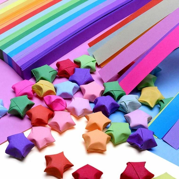 Stelline di carta colorata per origami, strisce di carta colorata per origami