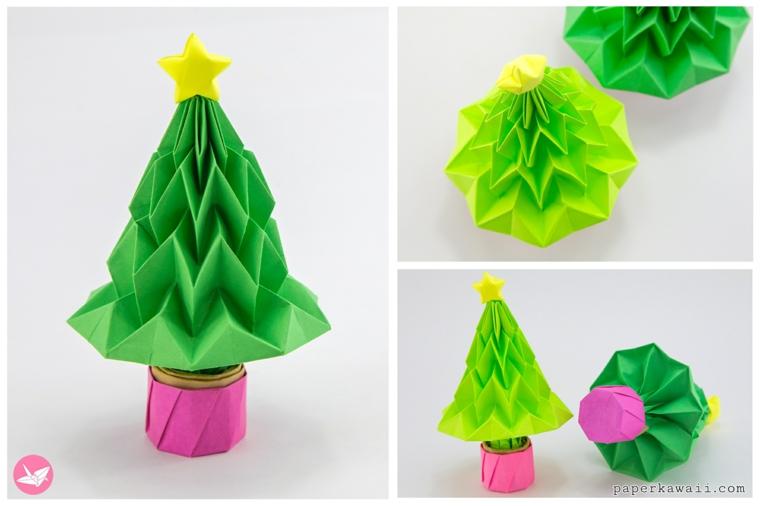 Albero di Natale tridimensionale di carta, fogli di carta per origami piegati