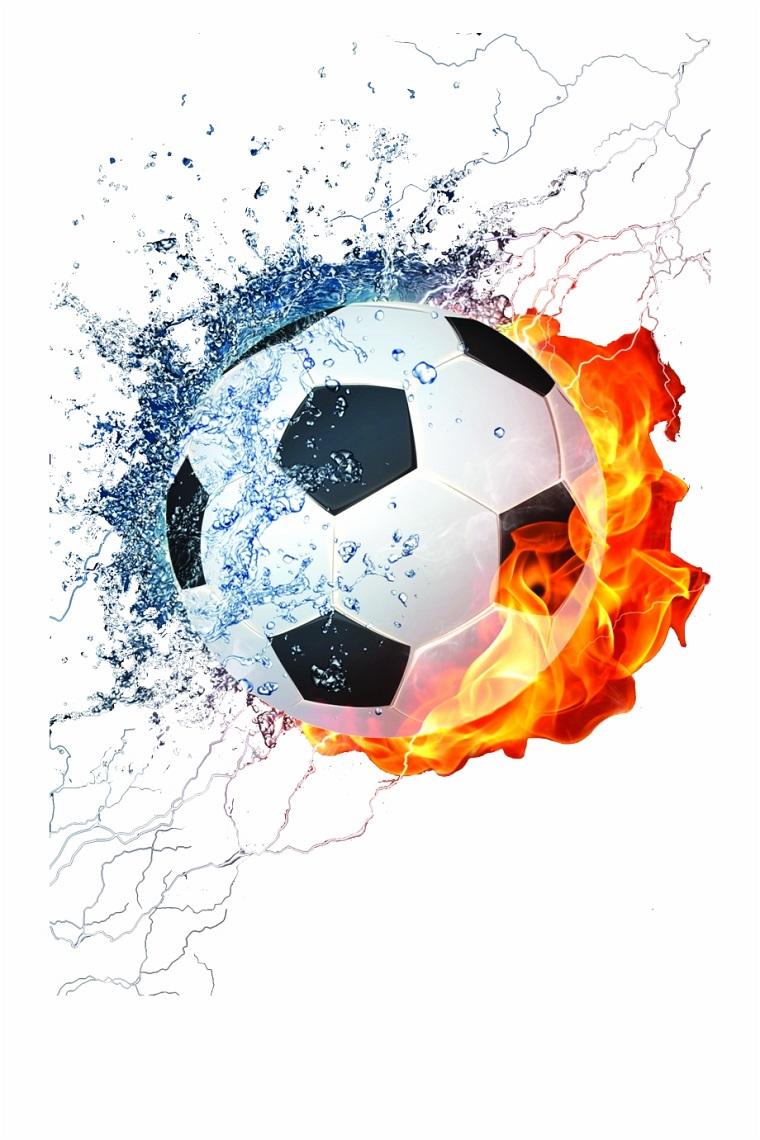 Palla da calcio in fiamme, immagine per lo schermo del telefono con sfondo bianco