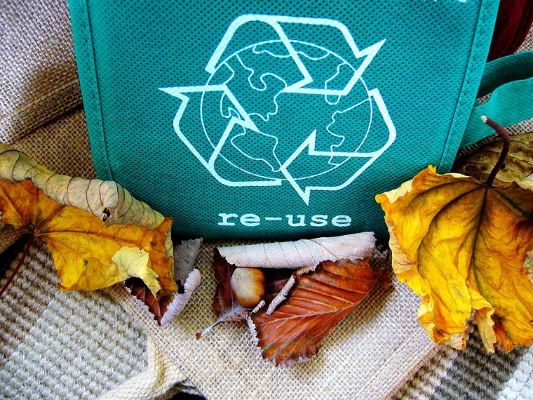 Busta di colore blu riciclata, foglie autunnali secche, materiali per fai da te
