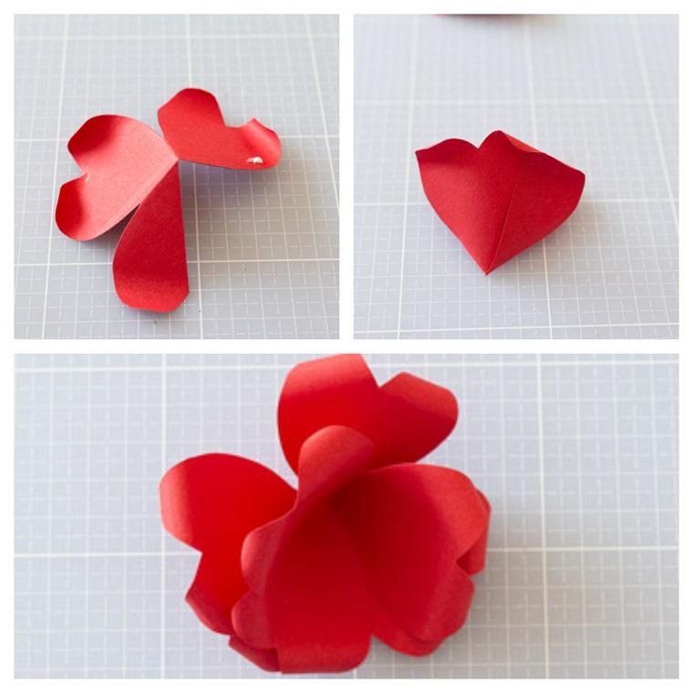 Idee regalo per san valentino, tutorial per fare un fiore di foglio di carta rosso