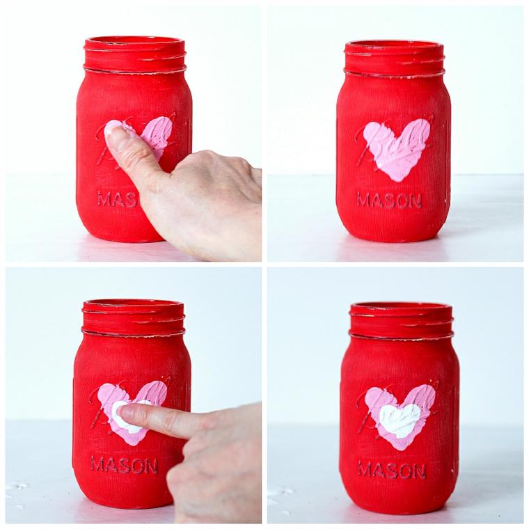 Sorprese san valentino, barattolo di vetro dipinto di colore rosso