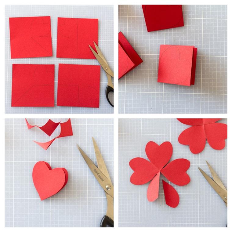 Sorprese san valentino, tutorial con foglio di carta di colore rosso e forbici