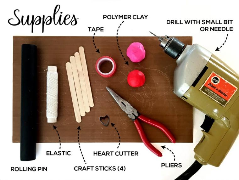 Sorprese san valentino, materiali come trapano e palline di argilla polimerica