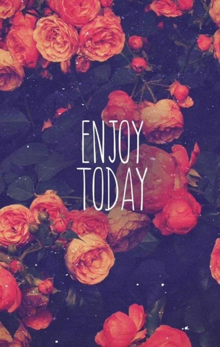 Sfondi huawei, foto vintage di rose e scritta in inglese Enjoy Today