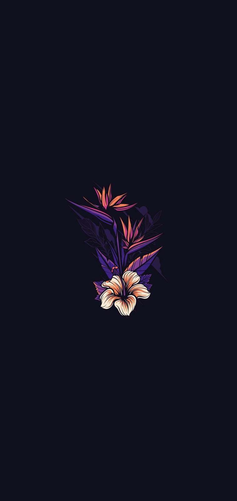 Gli sfondi più belli del mondo, immagine con sfondo scuro e disegno di fiori
