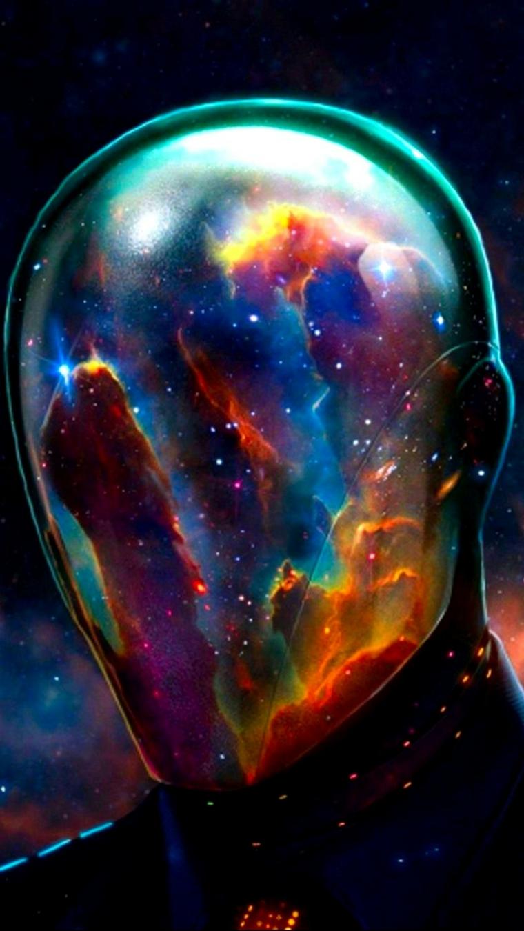 Immagini sfondo cellulare, disegno colorato di una testa spaziale con tanti colori