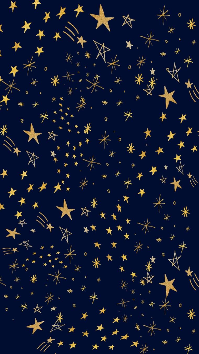 Gli sfondi più belli del mondo, disegno con sfondo blu e disegni di stelle gialle