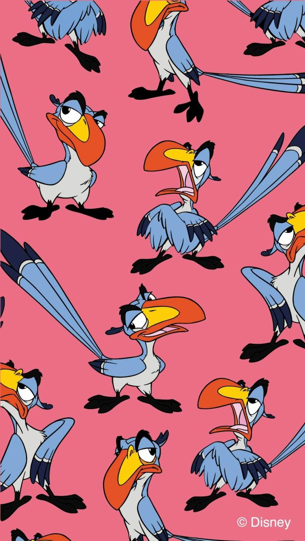 Sfondi per telefono, disegno di un uccello colorato, immagine con sfondo di colore rosa