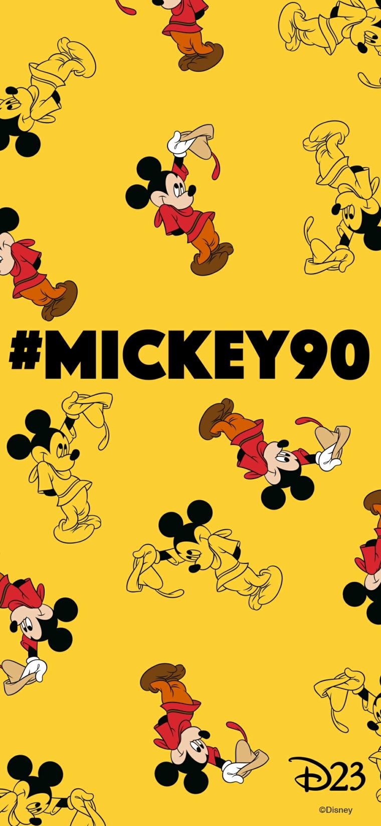 Sfondi per cellulari, immagine con sfondo di colore giallo e disegno di Mickey Mousse