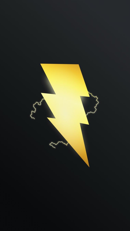 Immagini sfondo cellulare, disegno di un fulmine giallo su sfondo nero