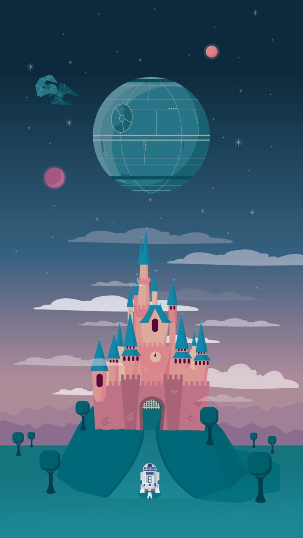 Sfondi bellissimi, disegno colorato di un castello con pianeti nel cielo