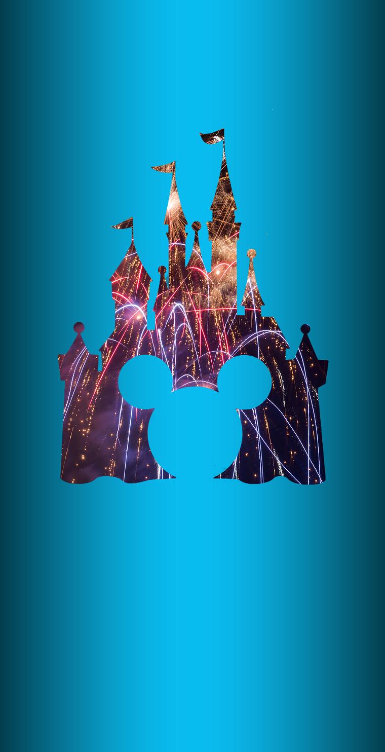 Sfondi bellissimi, disegno foto del castello della Disney con uno sfondo di colore blu