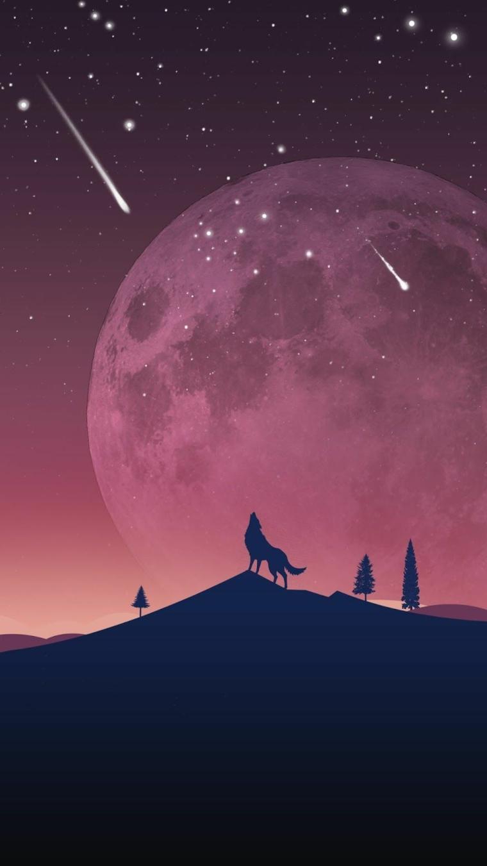Sfondi per telefono, immagine disegno della luna piena don un lupo in ombra