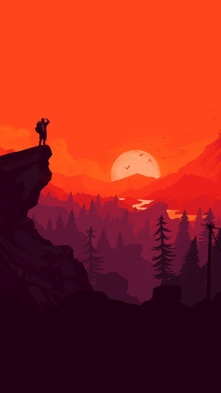 Sfondi per smartphone, disegno di una foresta con la luna piena e un cielo arancione