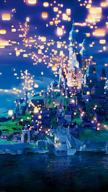 Sfondi huawei, disegno colorato di una città su colli, disegno di un cielo con lanterne illuminate