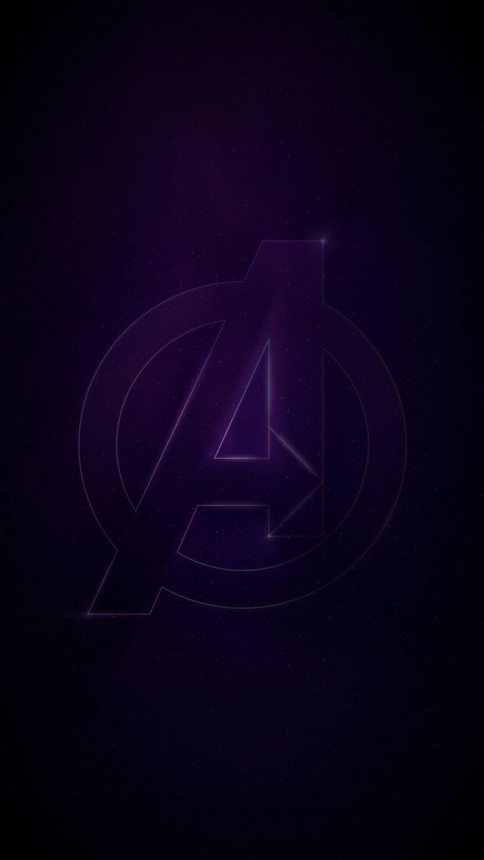 Schermo telefono con sfondo scuro, sfondo per telefono con il simbolo degli Avengers