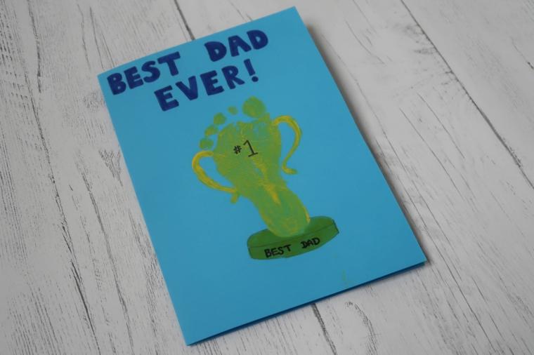 Disegni per la festa del papà, cartolina con scritta e disegno di una coppa