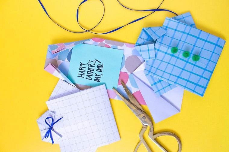 Biglietti per la festa del papà, cartolina con fogli di carta colorata e scritta in inglese