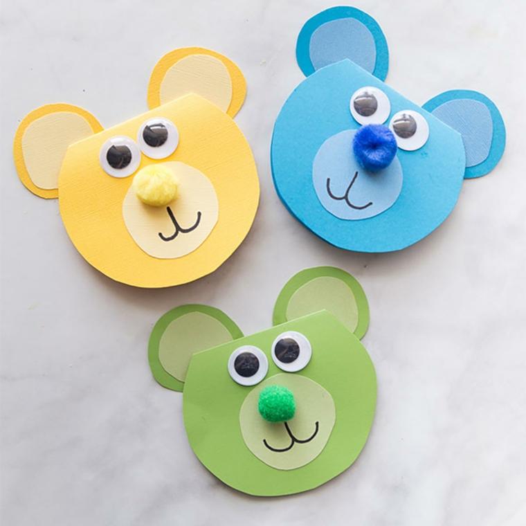 Auguri per la festa del papà, cartolina a forma di orsetti decorati con pompon