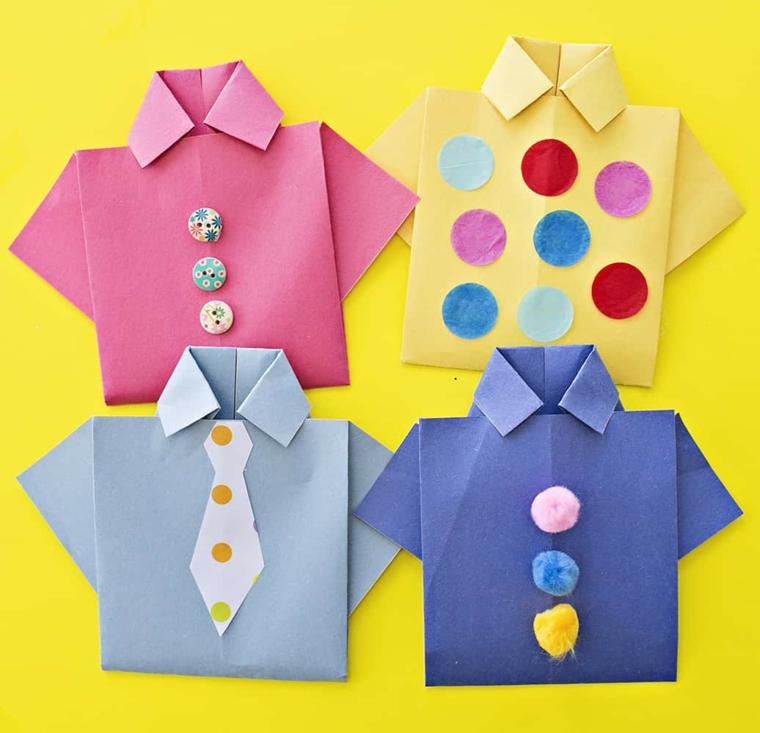 Auguri per la festa del papà, cartoline con fogli di carta piegati a forma di camicia