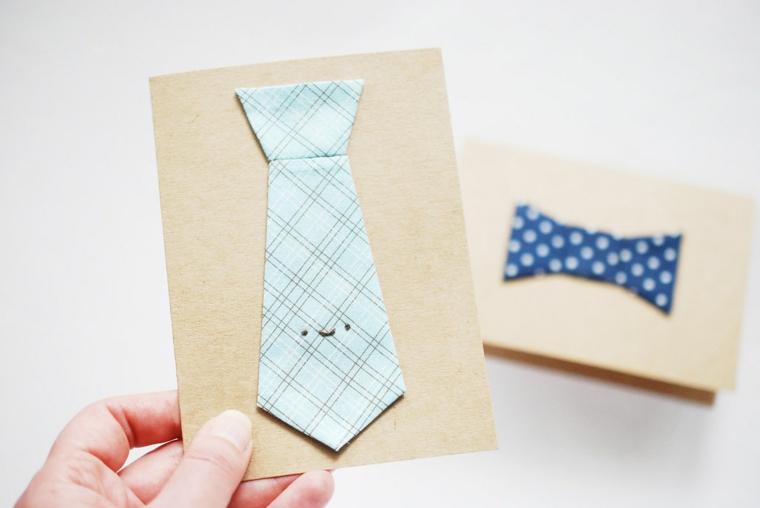 Biglietti per la festa del papà, cartolina di carta decorata con cravatta di stoffa