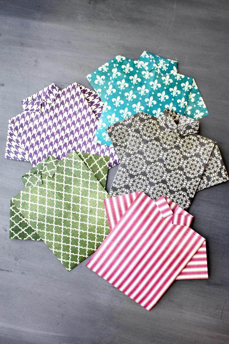 Lavoretti festa del papà, cartolina design camicia di carta origami colorata