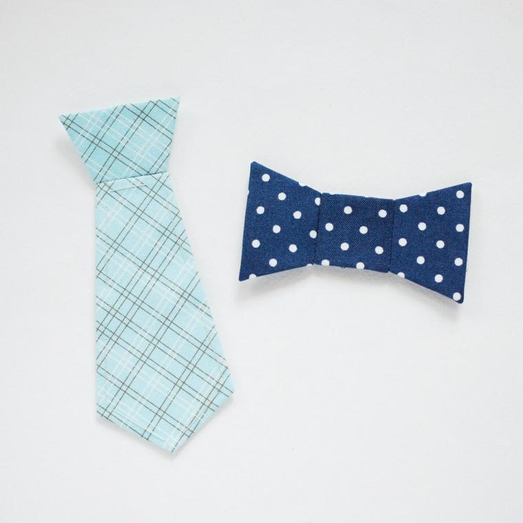 Cravatta e papillon di stoffa colorata, lavoretti festa del papà