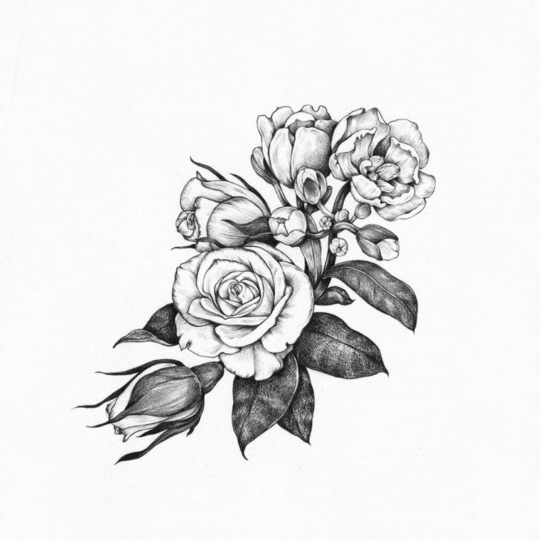Fiori facili da colorare, disegno a matita di un fiore con petali sfumati con matita