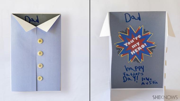 Lavoretti festa del papà, cartolina con foglio di carta piegato a forma di camicia