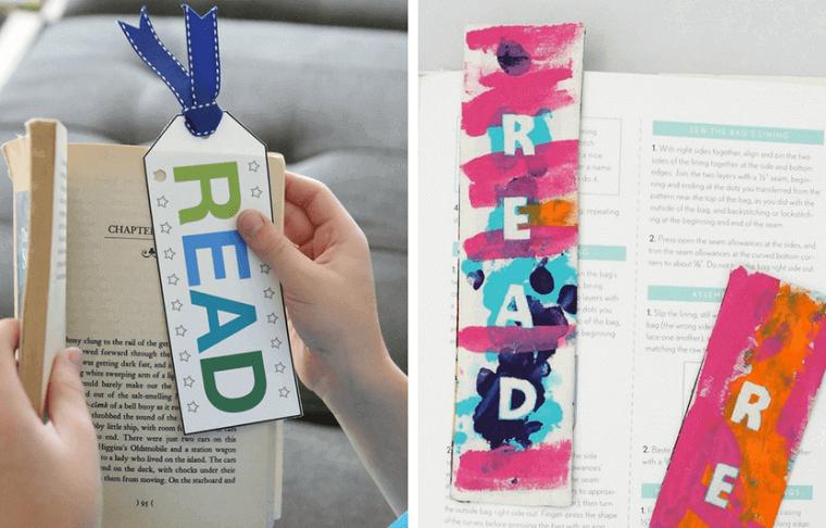Un bambino che legge un libro, segnalibro di un foglio rettangolare con disegno e scritta