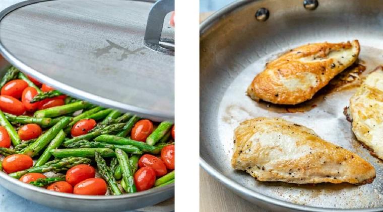 Padella con asparagi e pomodorini, padella con petto di pollo, primi piatti sfiziosi