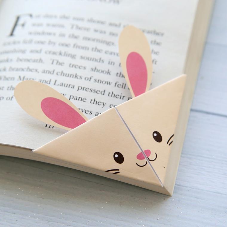 Segnalibro origami design coniglietto con orecchie, segnalibro personalizzato