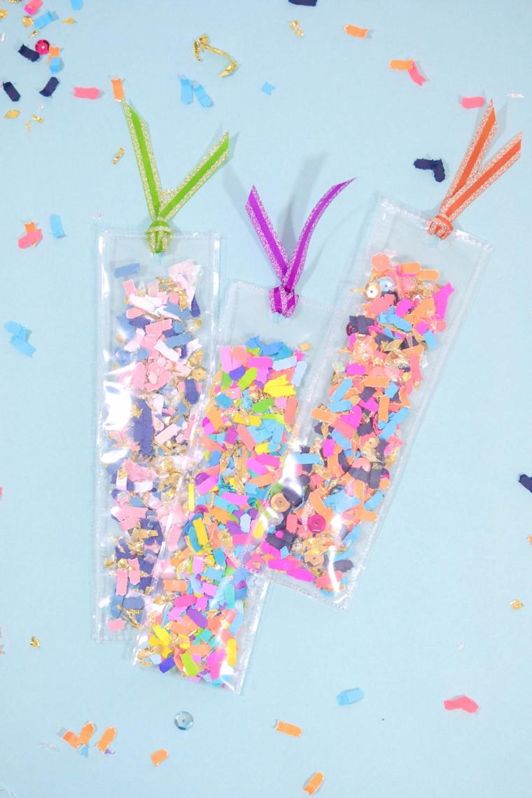 Segnalibro personalizzato, bustine di plastica rettangolari con coriandoli colorati